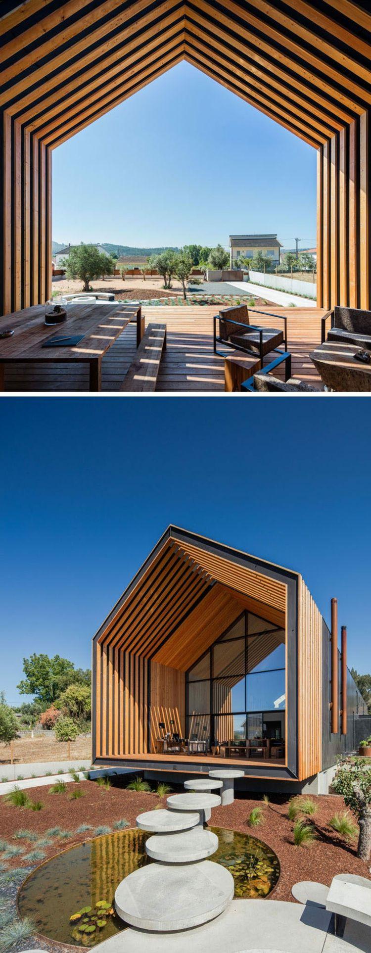 Gartenteich Landschaft Holzlamellen Veranda Aus Holz Haus Houses