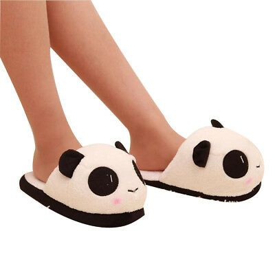 Photo of Details about Womens Winter Home Slippers Cartoon Panda Indoor Non-slip Soft Warm Floor Shoes