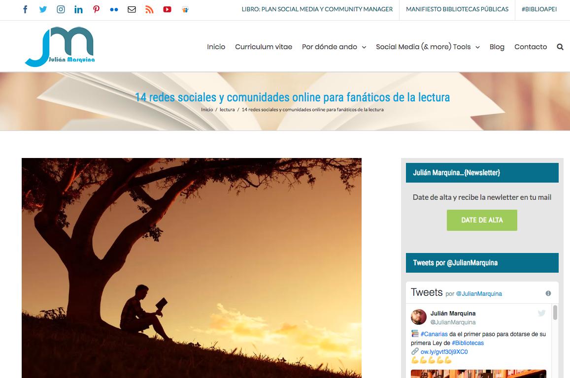 """Fanático De La Lectura: Artículo """"14 Redes Sociales Y Comunidades Online Para"""