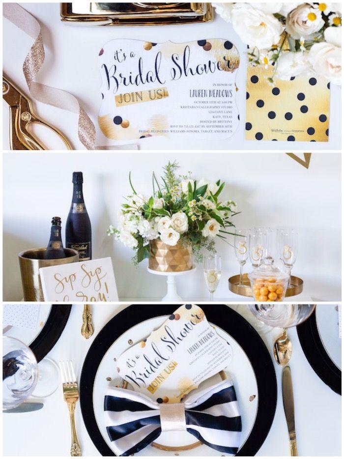 black white gold geometric bridal shower via karas party ideas karaspartyideascom 2