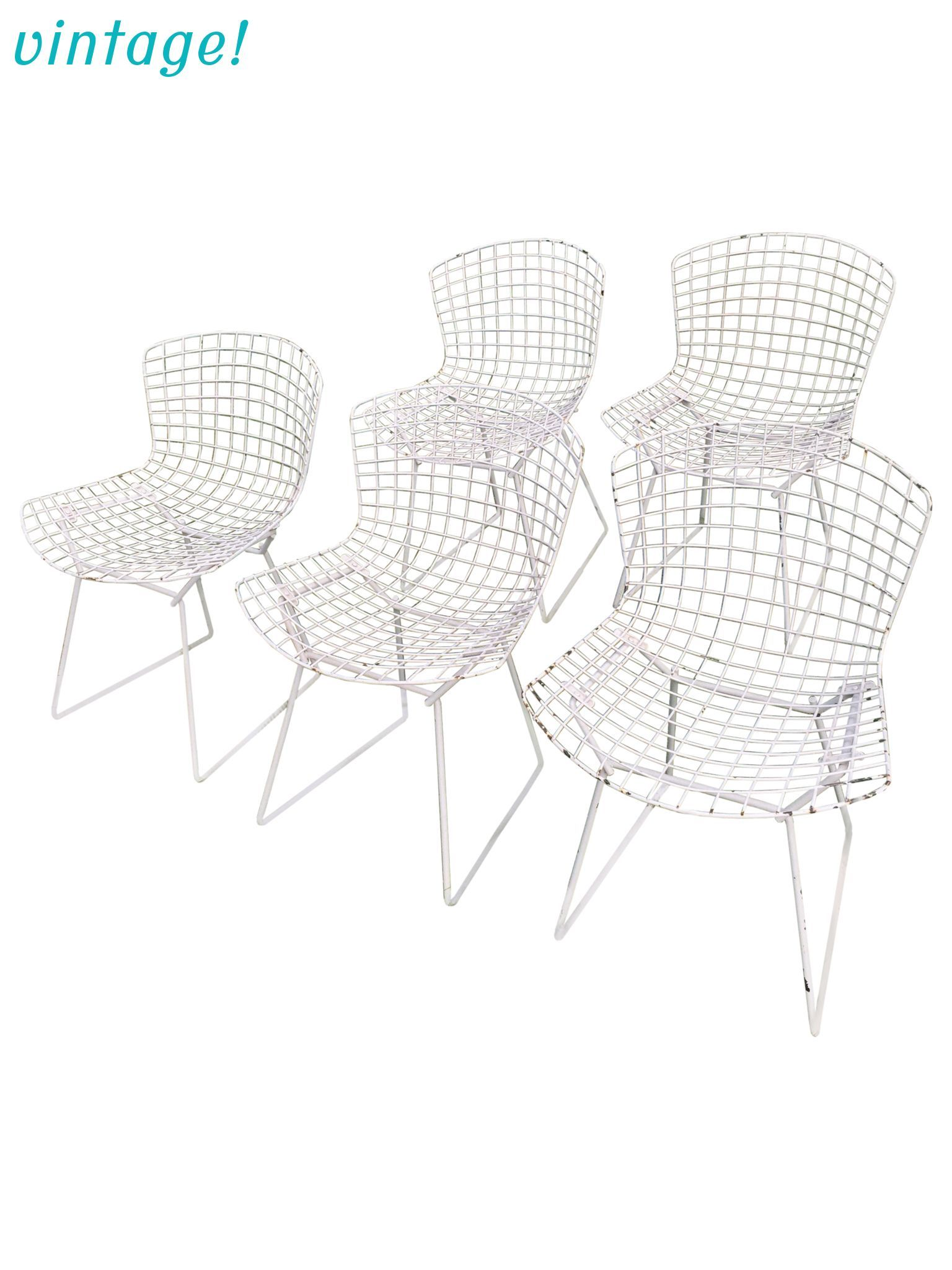 Vintage Harry Bertoia Knoll White Wire Chairs - Set of 5 | Wire ...