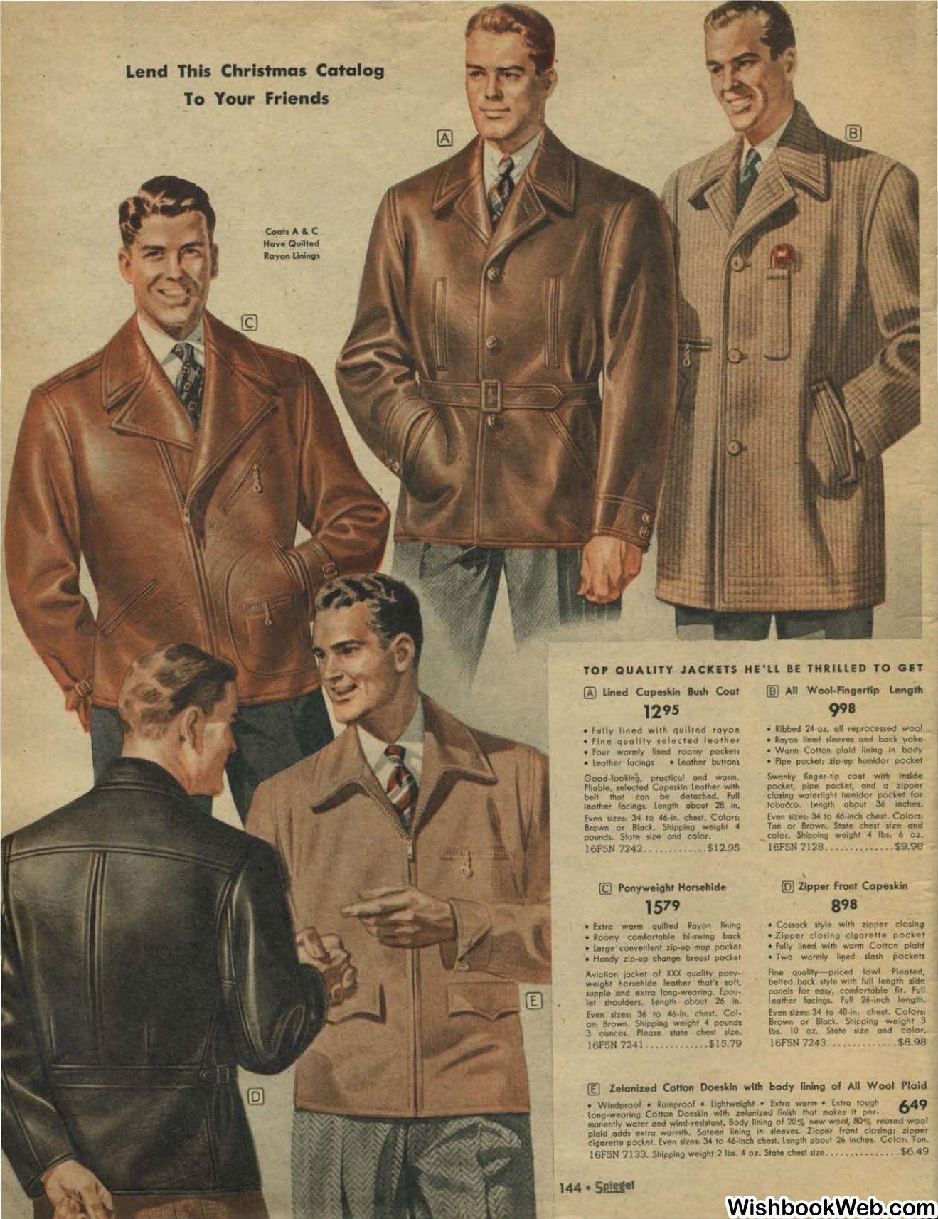 14b214a3b7 Men s Jackets. Winter 1942 1940s Mens Fashion