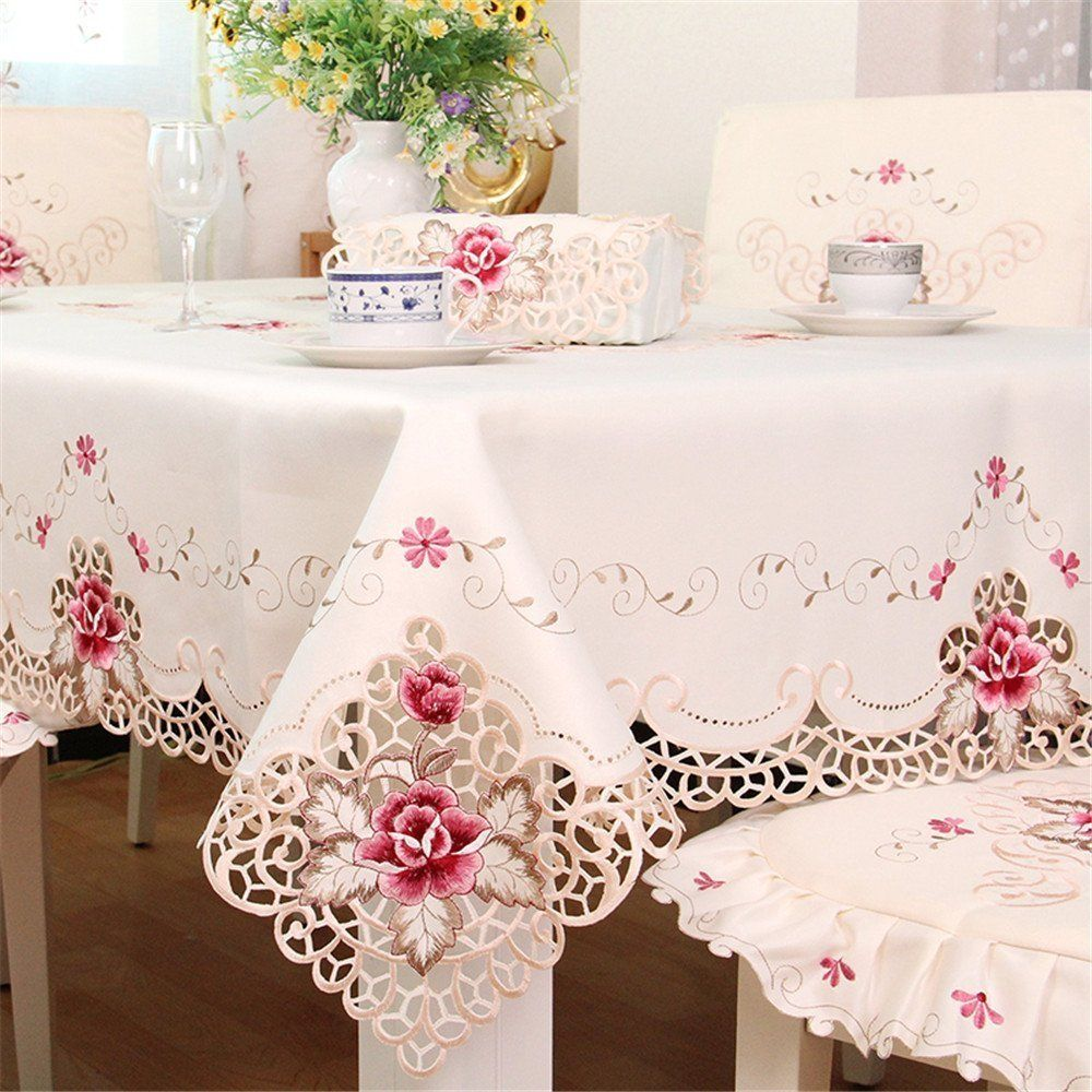 Hoomy Embroidered Floral Tablecloths Off White