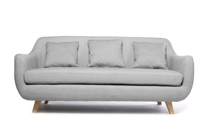 Canapé design scandinave 3 places gris SKANDI - Zoom