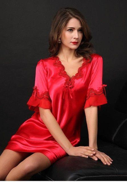Nightgown Pijama Victoria Sexy Silk Night Dress Lace Plus Size Short Sleeve  Pyjamas Women Nightwear Sleepwear Nuisette Femme 2d549c449