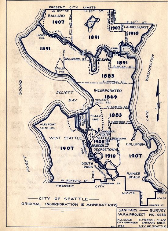 Awesome old Seattle neighborhood map