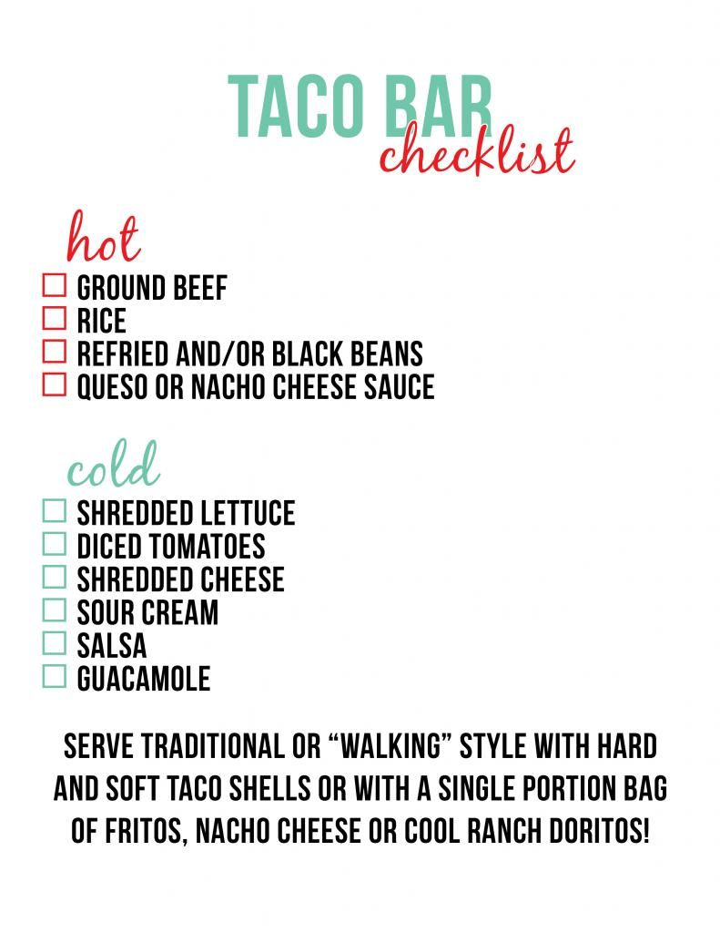 Taco Bar Checklist Little Baby Seed Fiesta De Mexicana Taco