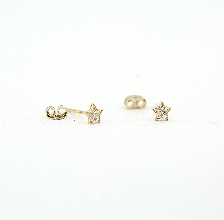 ba1a2b182 Tiny Star Earrings/ Diamond Star Earrings in 14k Solid Gold/ Tiny Diamond  Earrings/ Tiny Stud Earrings/ Tiny Diamond Studs/ Graduation Gift