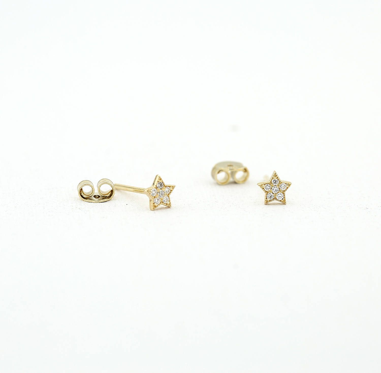7de4e2e6dfb84 Tiny Star Earrings/ Diamond Star Earrings in 14k Solid Gold/ Tiny ...