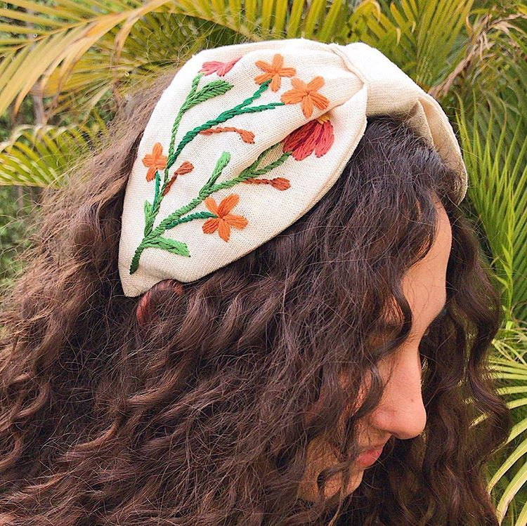 Selling this hand embroidered headband / symmetrical design
