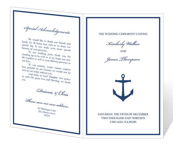 Wedding Program Template Printable - INSTANT DOWNLOAD - Anchor ...