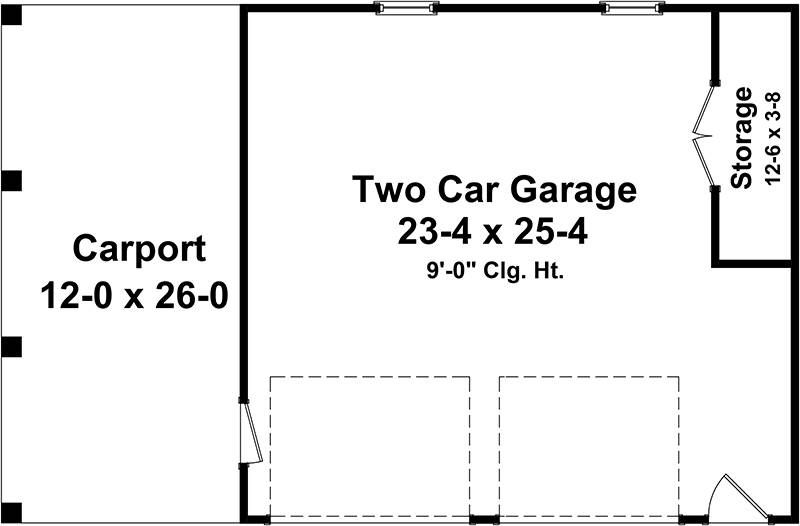 One-story Traditional 2 Car Garage Plan with Carport