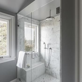 Shower Window Seat Transitional Bathroom