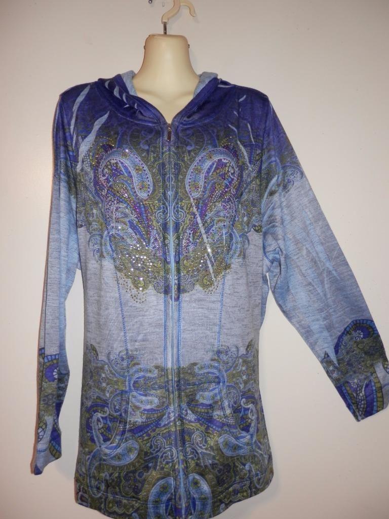One World 3X Blue Paisley Beaded Zip Hooded Hoodie Jacket LS Poly Spandex J130 https://t.co/QZi4tAK5bG https://t.co/jIdq4bm4Kg