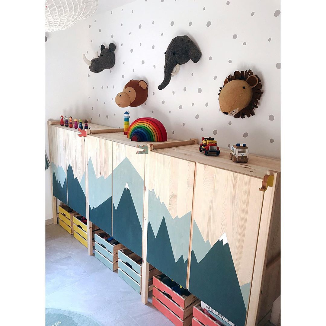 """Rebecca Evans (McDonald) on Instagram: """"This is my favourite wall in the playroom. The cabinets are just the ikea ivar and I love the bare wood. They looked great as they were but…"""""""