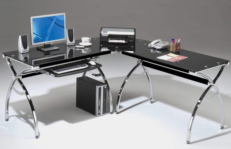 Desk For Computer Amazon Com Techni Mobili Hip Black Glass Corner Computer Desk Black 60 75 W X Black Glass Desk Glass Computer Desks L Shaped Glass Desk
