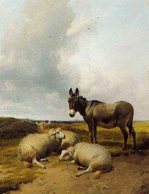 A Donkey and Sheep in a Meadow  Thomas Sidney Cooper, 1880...donkeys as guardian animals not such a new idea afterall