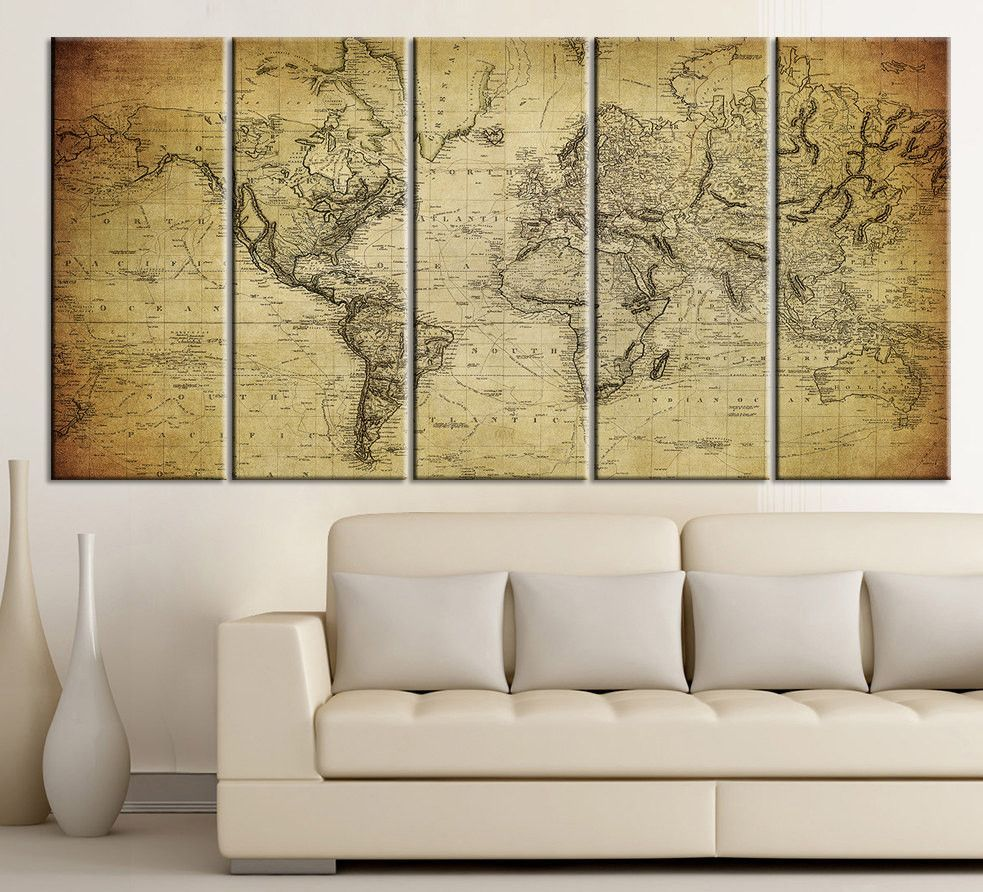 Vintage WORLD MAP Canvas Print on Old World - Old World Map 5 Piece ...