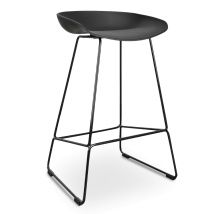 Allen 65cm Bar Stool Abs Plastic Seat In Black With Metal Frame