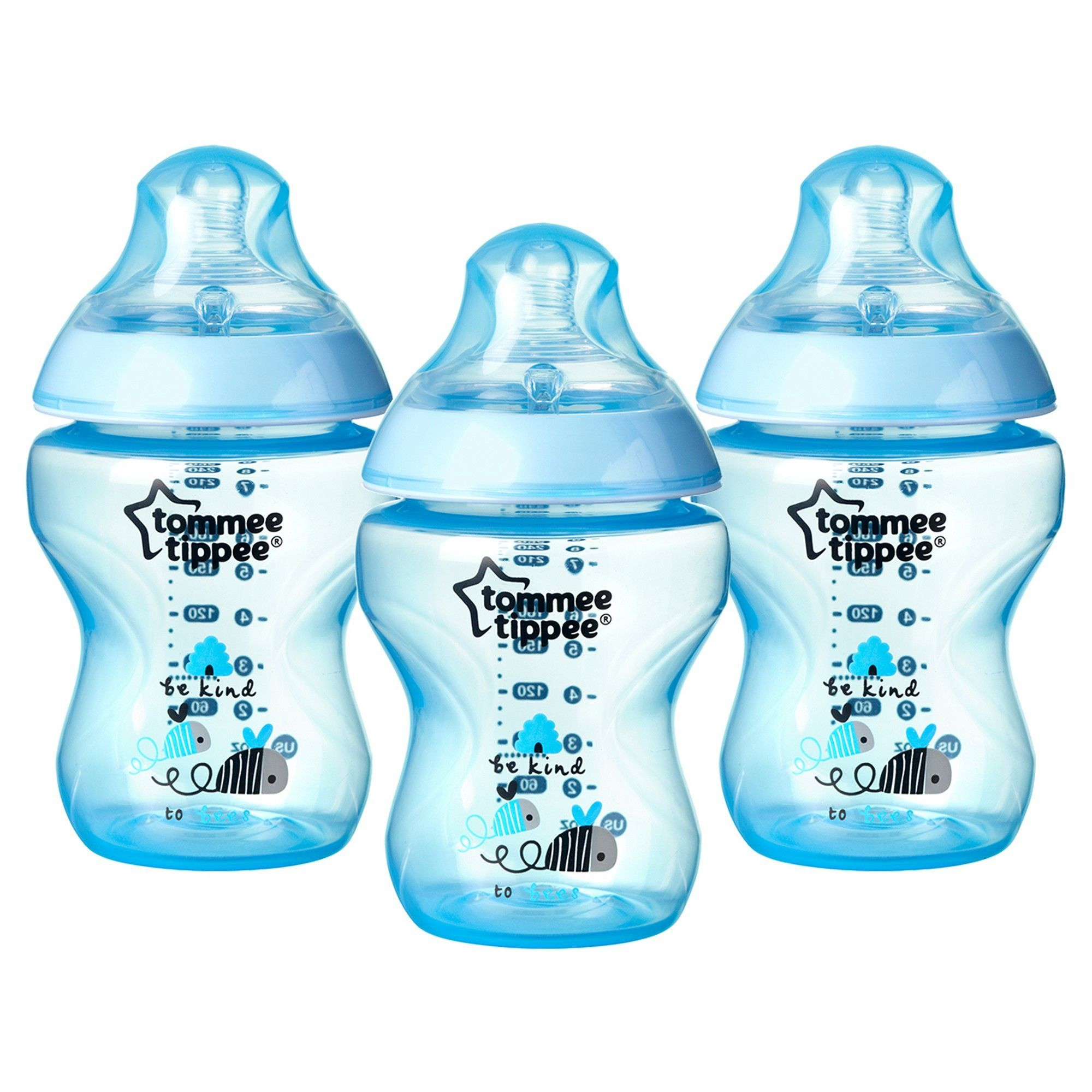 Tommee Tippee Pink Decorated Bottles Tommee Tippee Closer To Nature Blue Bottle 3 Pk 9 Oz Bottle And