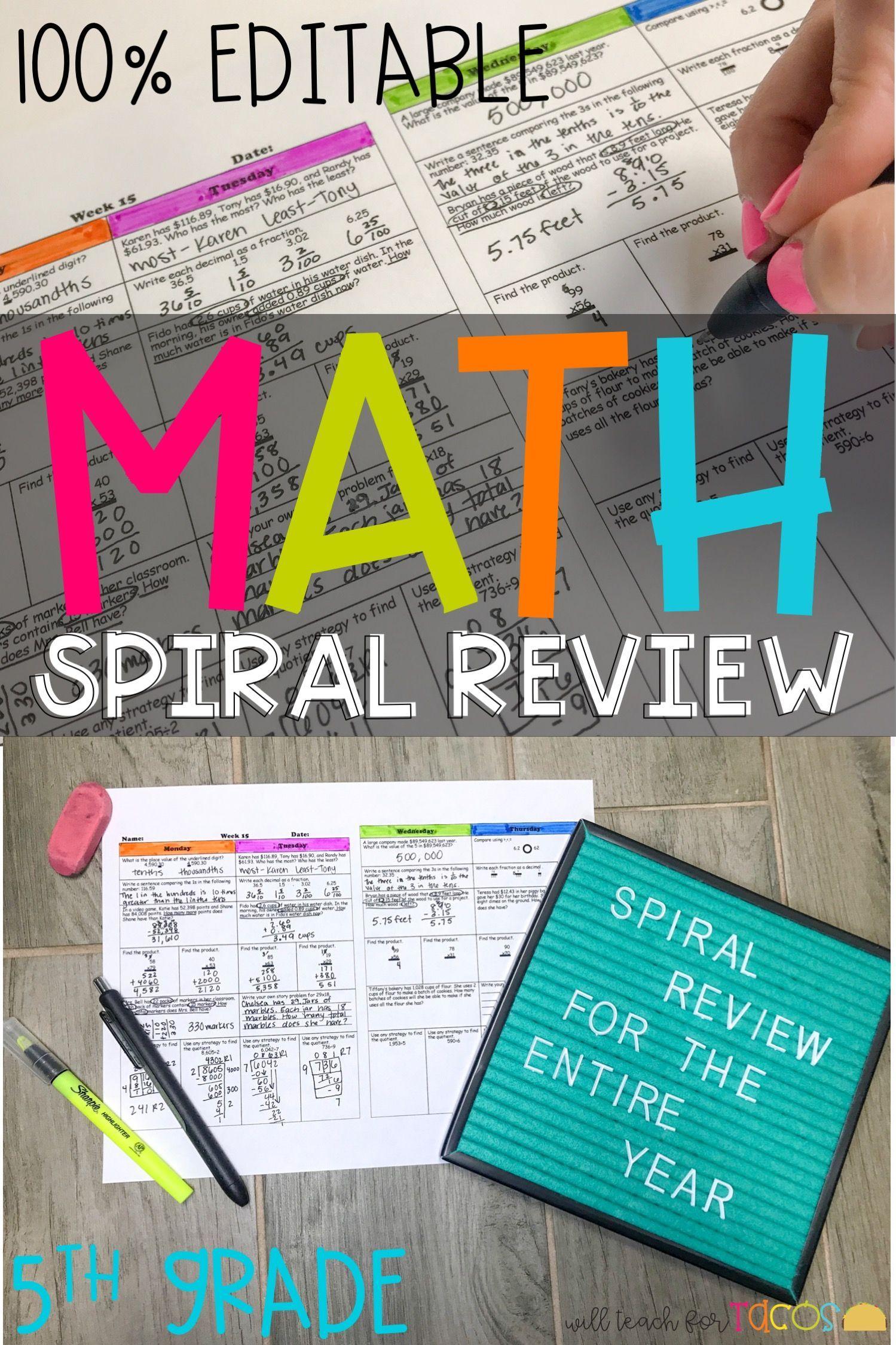 5th Grade Math Spiral Review Homework Texas