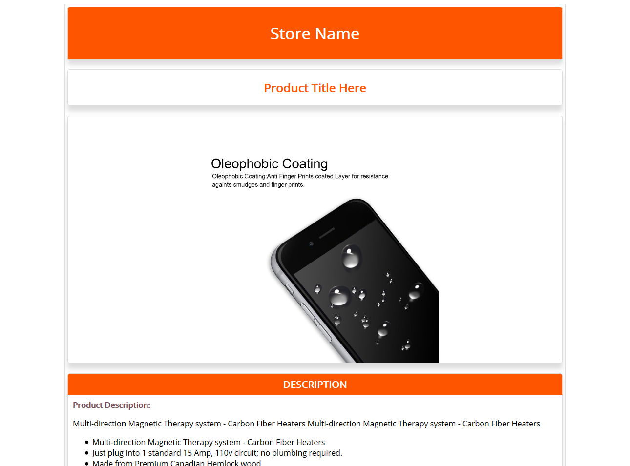 Free Ebay Html Listing Template And Product Description Template Orange 1 Ebay Templates Templates Ebay