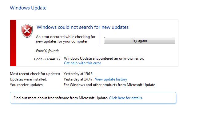 Windows Update Error Code 80244022 Error Code Coding Updating Windows