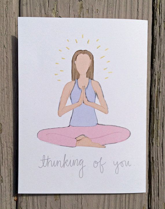 Thinking Of You Seated Meditation Blank Yoga Pose Greeting Card
