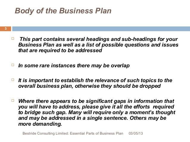 Essential Elements Of Business Plan  Submission Specialist