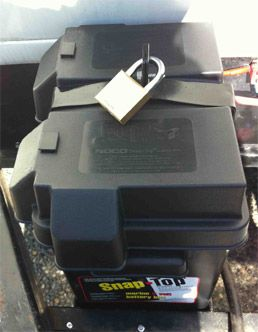 Diy Trailer Battery Lock 2 Cove Ideas Rv Battery Rv