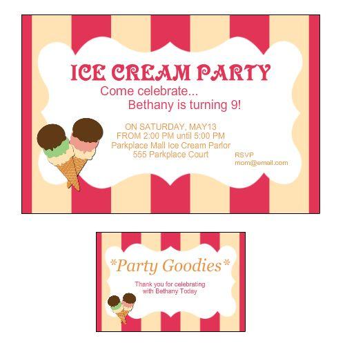 Ice Cream Social Birthday Party Invitation and Custom Label from - fresh birthday invitation jokes