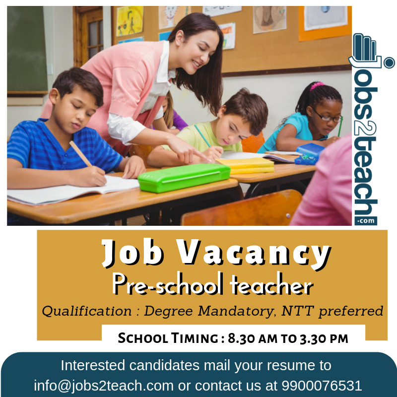 Job Vacancy Pre School Teacher Gattahalli Near Electronic City