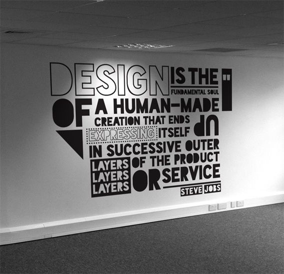 Typographic quote Wall design, Wall graphics, Office mural