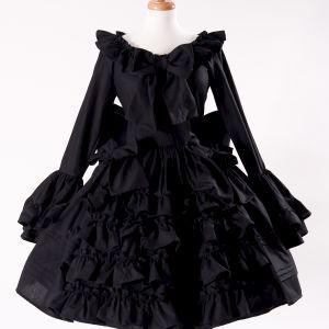 Black Gothic Lolita Goth Loli Cotton Dress and Detachable Bow www.mgdclothing.com