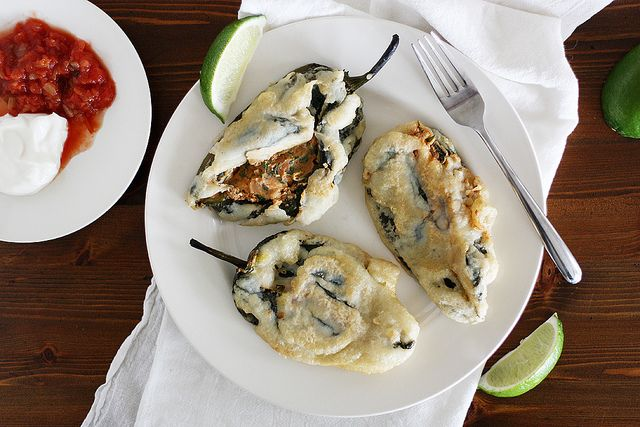 Beer-Battered Bean & Cheese Stuffed Poblano Chiles