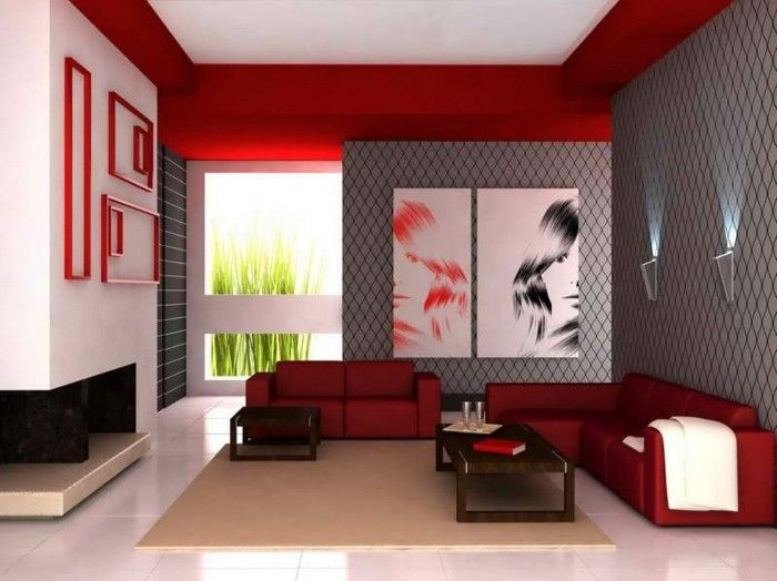 dekoideen wohnzimmer rote sofas creme teppich weiße bodenfliesen ...