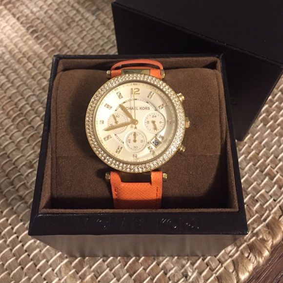 Michael Kors Watch Authentic Michael Kors watch in perfect condition. Rust colored leather band with diamond accents surrounding watch. I never wear it so hoping to rehome it to someone that will get better use out of it! Open to offers❤️ Michael Kors Accessories Watches