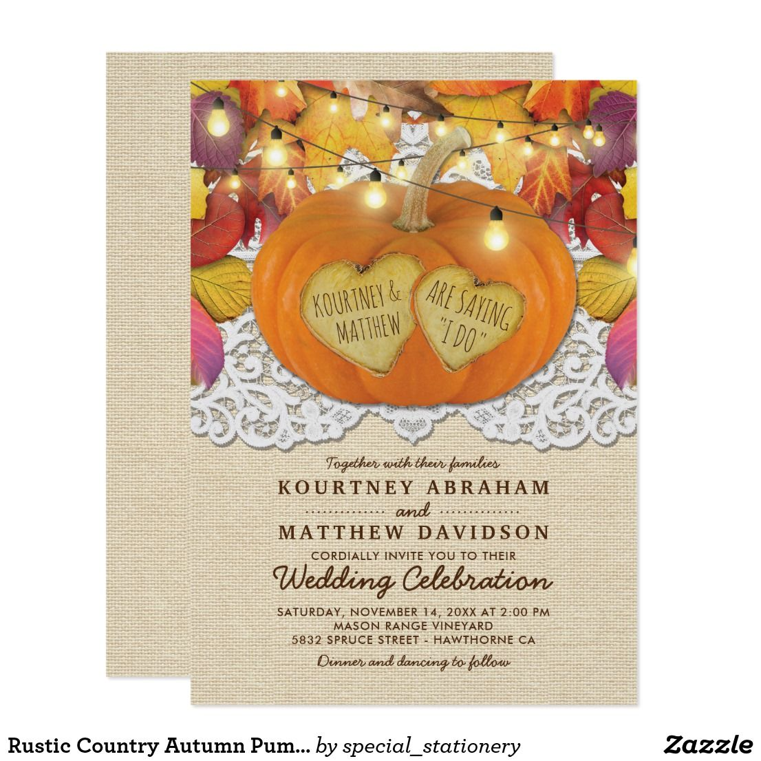 Rustic country autumn pumpkin lace wedding invitation wedding