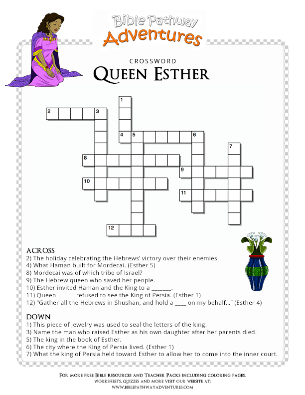 Enjoy Our Free Bible Crossword Queen Esther Fun For Kids To Print And Test Their Knowledge Of The Persian Empire Share With Others Too