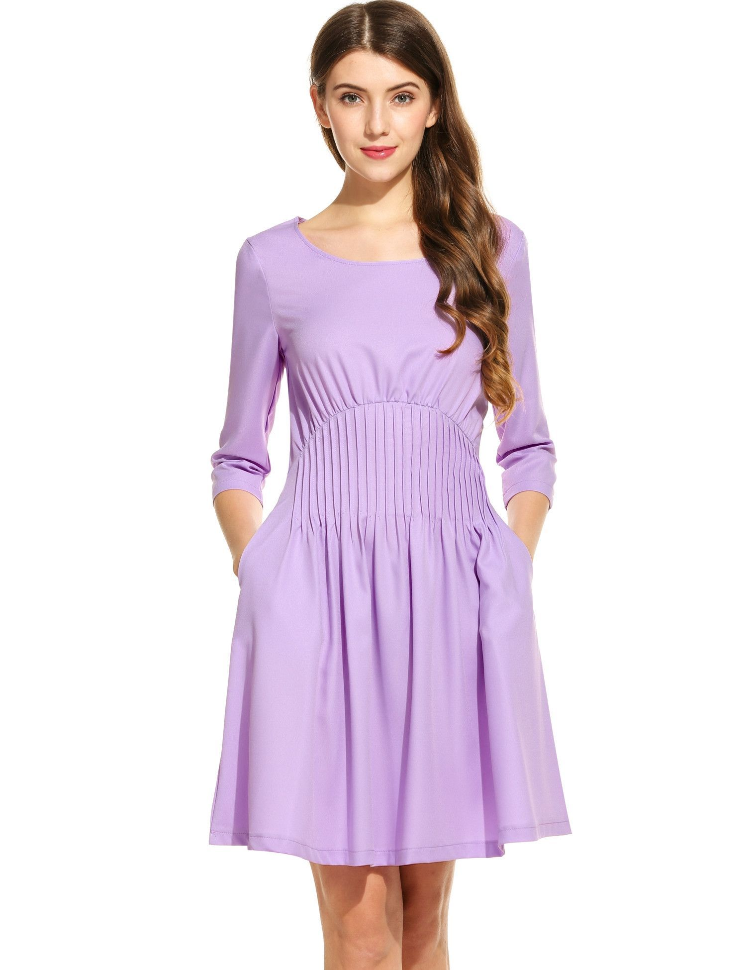 Purple Women 3/4 Sleeve Solid O Neck Pullover Tunic Casual Dresses