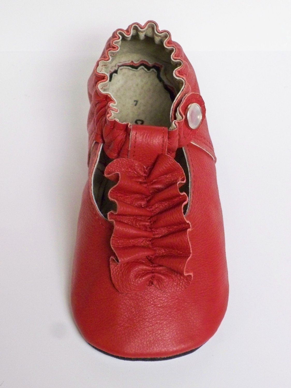 RED leather mary jane soft sole baby shoes ruffle by CambriaLaine