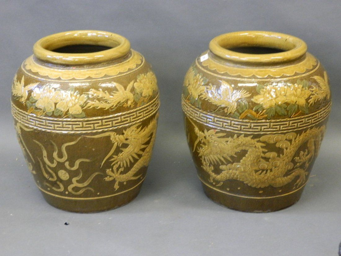 A pair of Chinese glazed earthenware floor vases with on | L'éveil Floor Vase Asian on large vases, asian paintings, oriental style vases, asian bamboo, japanese tall vases, tall clay vases, big decorative vases, oversized vases, asian bowls, vintage glass vases, asian clothing, asian clocks, asian floor beds, asian mirrors, asian lamps, oriental porcelain vases,