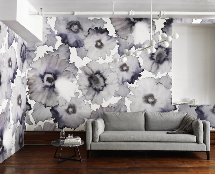 Bloom wallcoverings from Phillip Jeffries are digitally printed on a natural ground and are available in two unique scales and seven subtle shades.