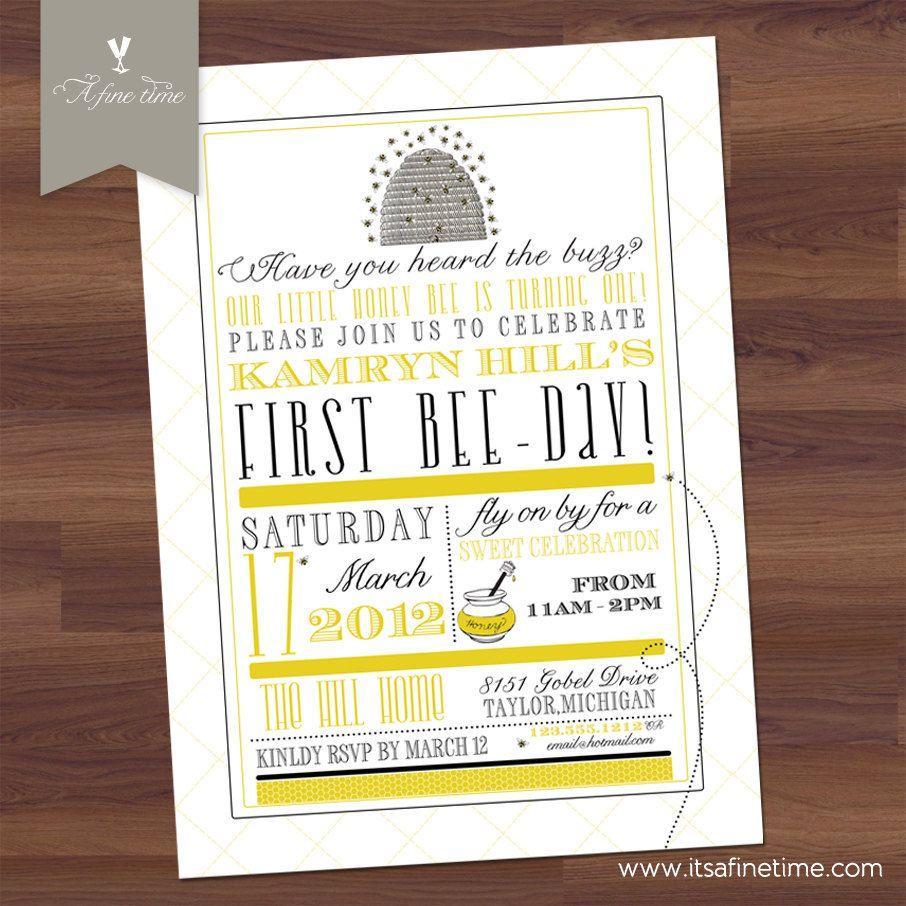 Birthday party invitation happy bee day honey bee bumble bee birthday party invitation happy bee day honey bee bumble bee poster style filmwisefo Images