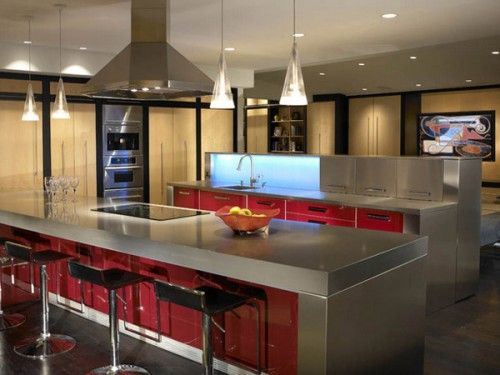 red-kitchen-bar-lighting-design | environment: interior – bar
