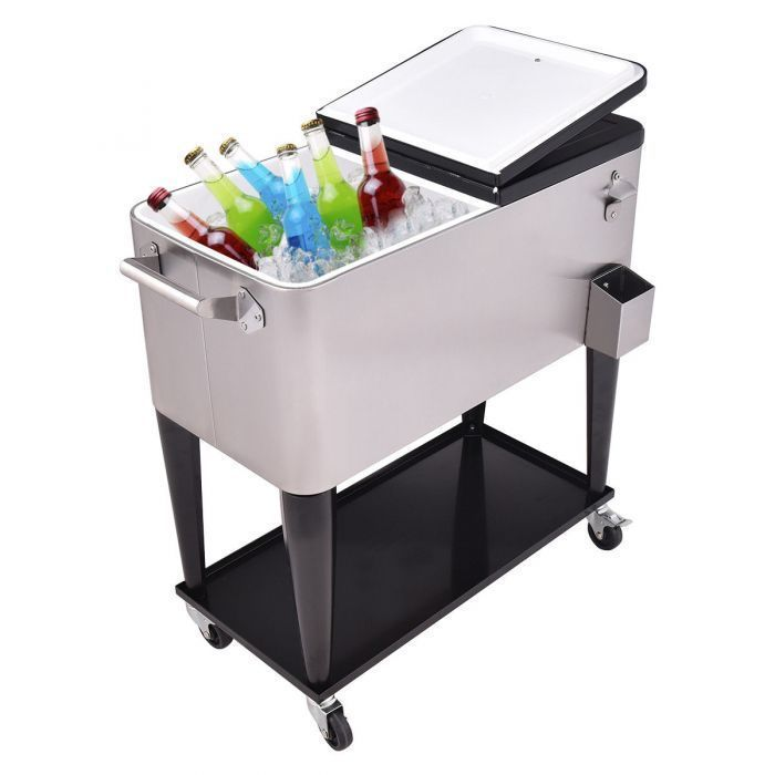 80 Quart Patio Rolling Stainless Steel Ice Beverage Cooler
