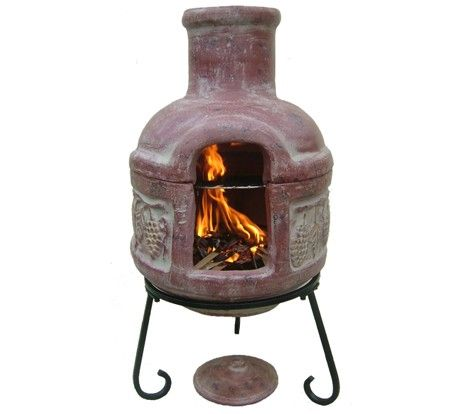 Nice Cozumel Grapes Outdoor Clay Chiminea With Grill, Steel Chiminea
