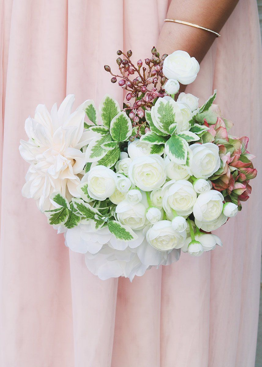 Silk Peony And Dahlia Bouquet In Pink White Wedding Flower