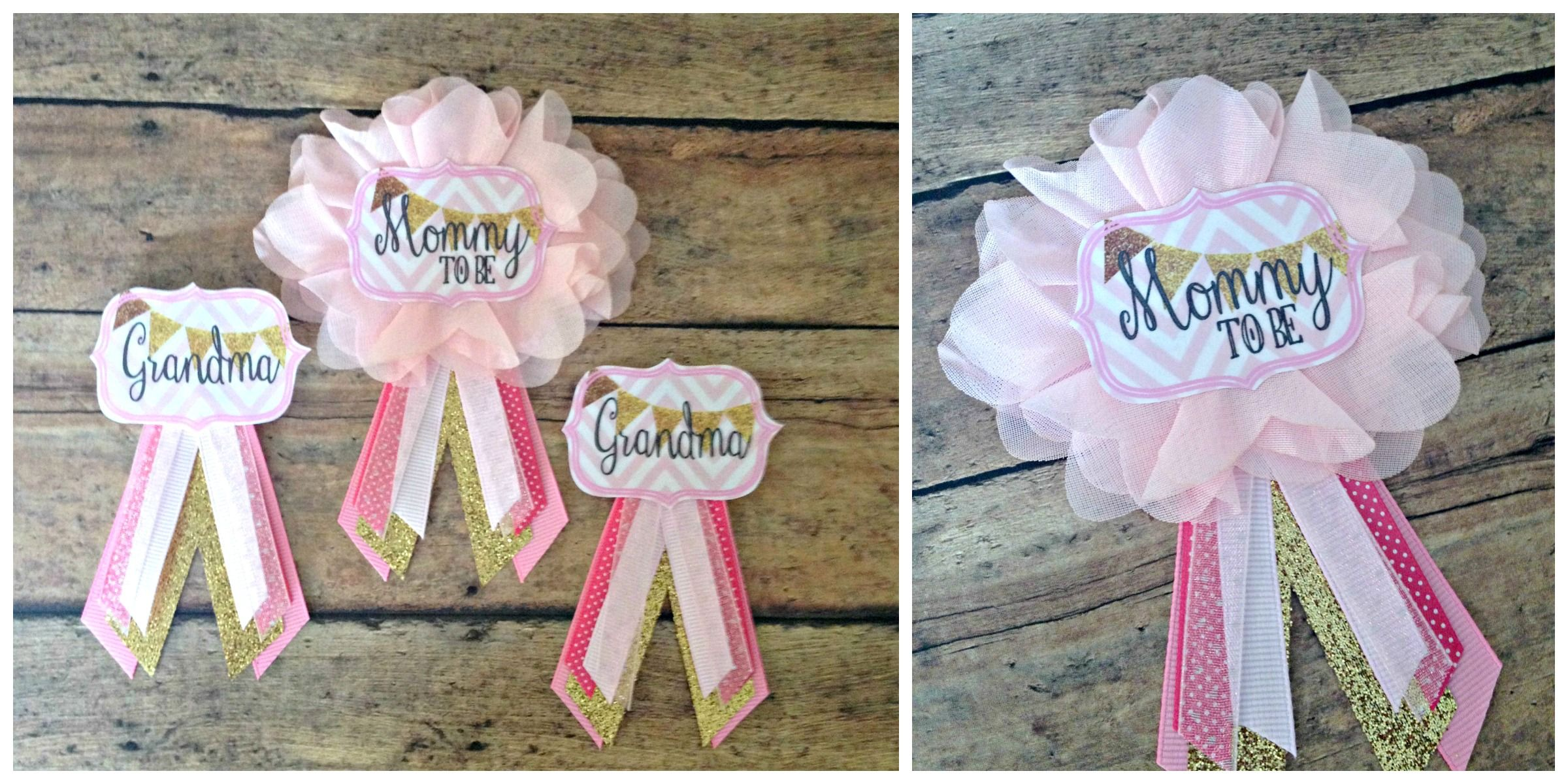 Pink and Gold Baby Shower : Custom Order Baby Shower Badges : EllieKattCollection.Etsy.Com
