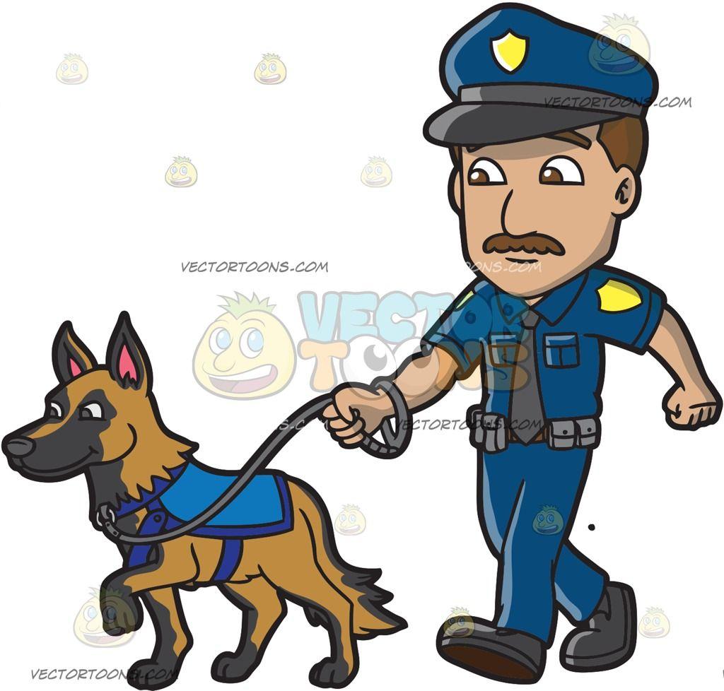 A Police Officer Walking His Dog German Shepherd Dogs Cartoon Dog Dog Poses